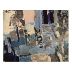 Rolf Erling Nygren, Sweden, Oil on Board, Abstract Composition, 1960s