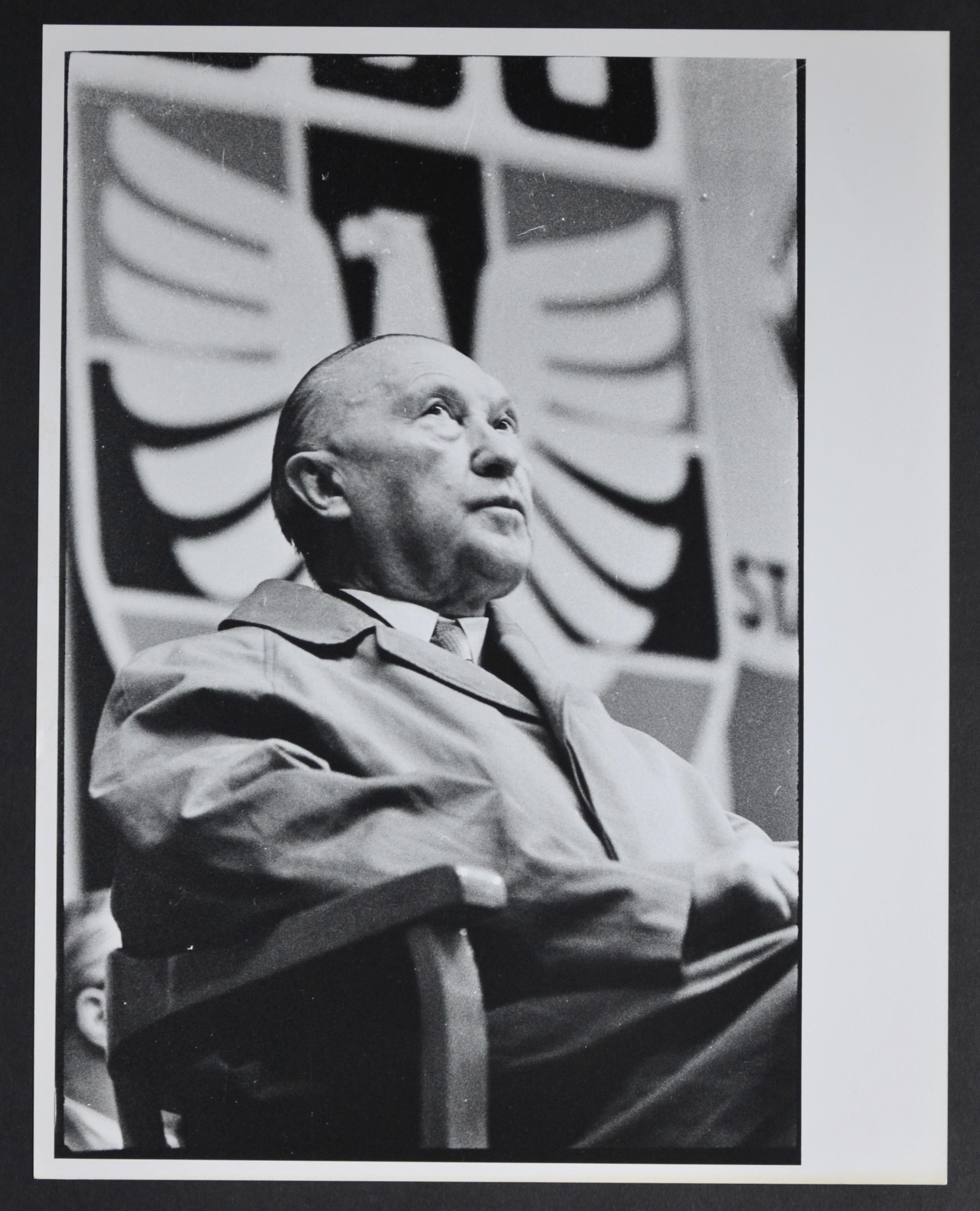 Chancellor Konrad Adenauer sitting, 1950s.