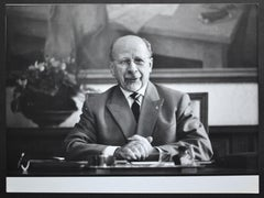Walter Ulbricht (1893-1973) posing at a desk, East Germany late 1950s.