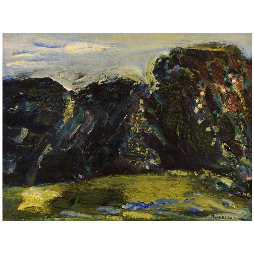 Rolf Nygren, Swedish Painter, Oil on Board, Modernist Landscape, 1960s