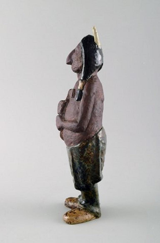 Rolf Palm, Höganäs, Indian, unique ceramics figure, Swedish design, 1950s. Measuring: 22 cm. Stamped. In perfect condition.