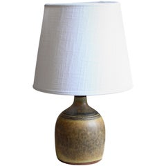 Rolf Palm, Small Table Lamp, Glazed Stoneware, Linen, Mölle, Sweden, 1962