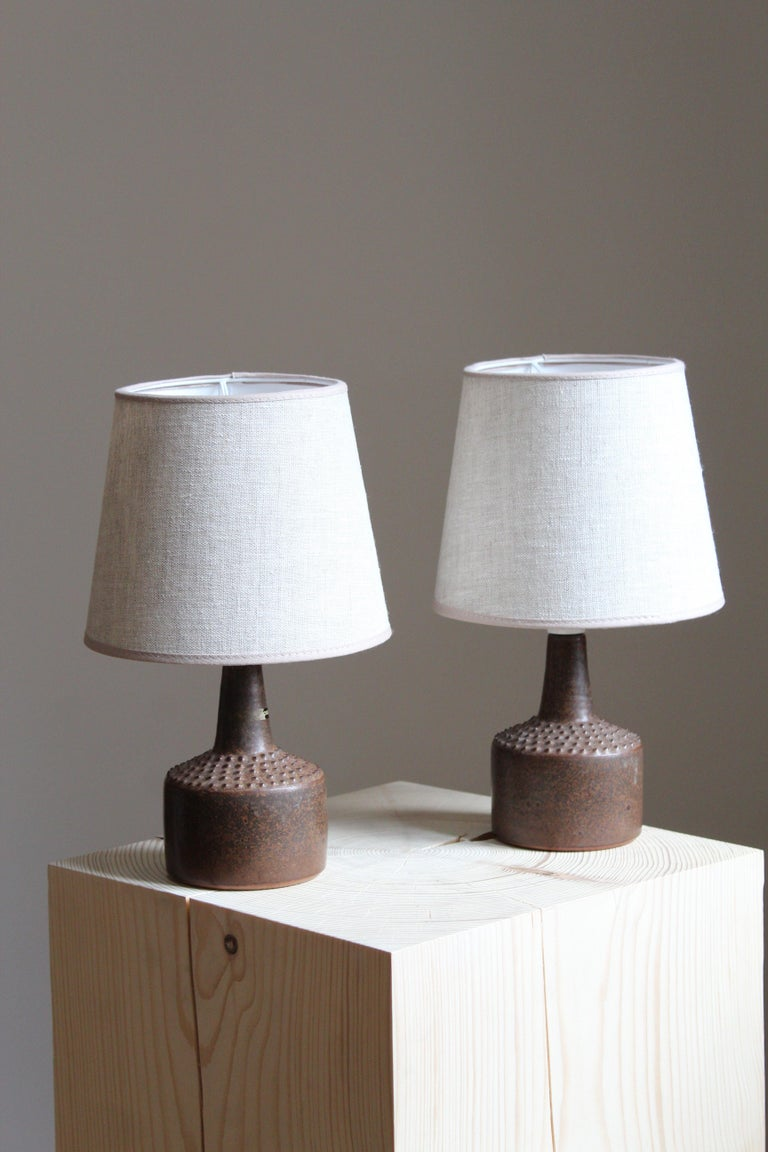 A small table lamp. Produced and designed by Rolf Palm, Sweden.  In glazed stoneware. Brand new high-end lampshade.