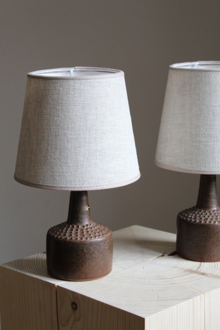 Mid-Century Modern Rolf Palm, Small Table Lamps, Glazed Stoneware, Linen, Mölle, Sweden, 1960s For Sale