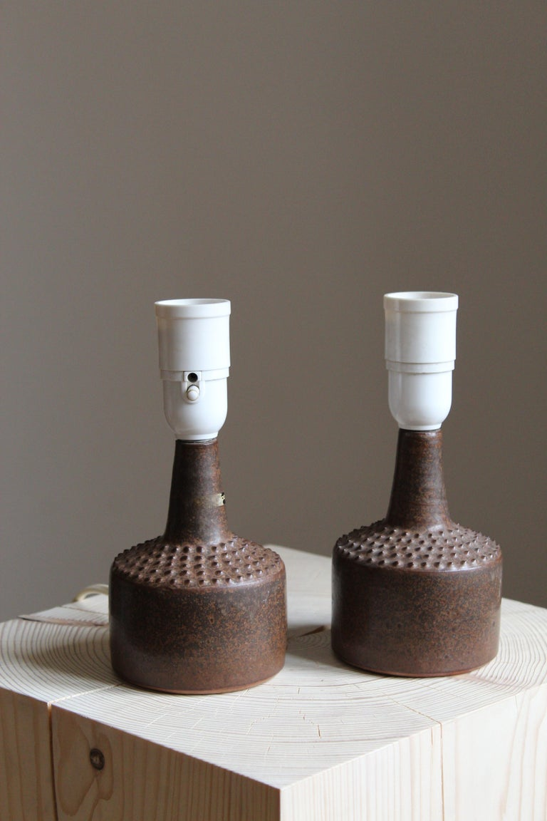 Swedish Rolf Palm, Small Table Lamps, Glazed Stoneware, Linen, Mölle, Sweden, 1960s For Sale