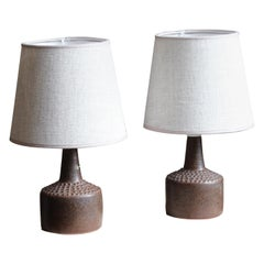 Rolf Palm, Small Table Lamps, Glazed Stoneware, Linen, Mölle, Sweden, 1960s
