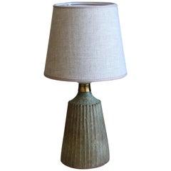 Rolf Palm, Table Lamp, Glazed Stoneware, Linen, Mölle, Sweden, 1960s