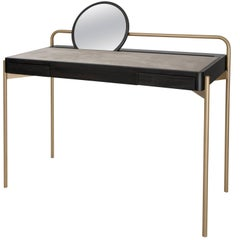 Roll Desk 02 Writing Table in Dark Walnut, Brass, Suede and Mirror
