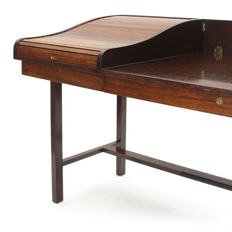 Mid-Century Modern Roll Top Writing Desk by Edward Wormley For Sale