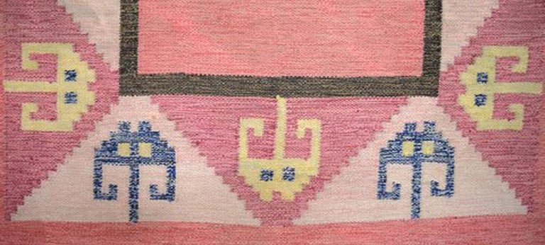 Röllakan Rug, Swedish Design, 1960s, Pink Shades In Good Condition For Sale In Copenhagen, Denmark