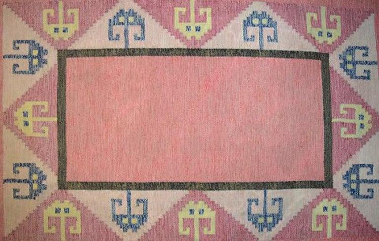 Mid-20th Century Röllakan Rug, Swedish Design, 1960s, Pink Shades For Sale