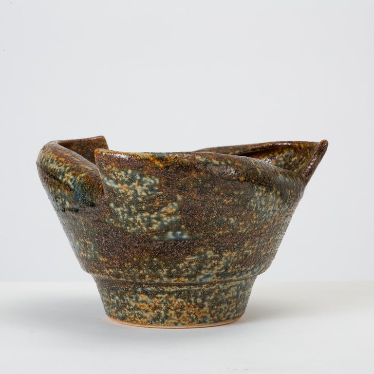 Glazed Rolled-Edge Ceramic Bowl For Sale