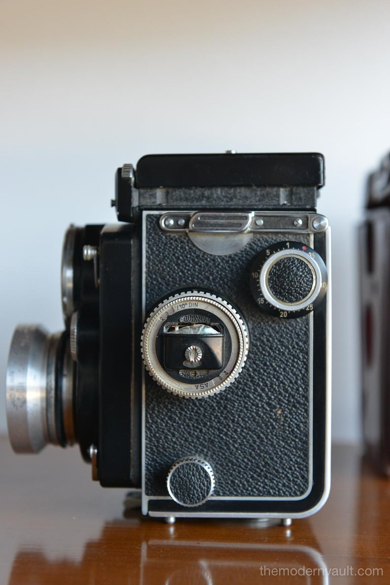 Metal Rolleiflex 2.8E TLR Camera with Case and Accessories, circa 1958 For Sale