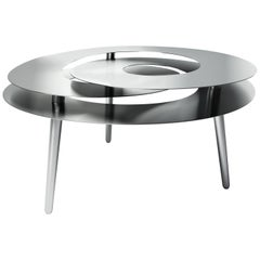 Rollercoaster Large Table, Polished Stainless Steel