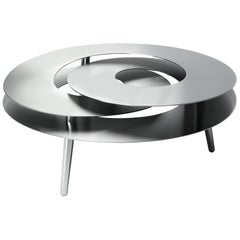 Rollercoaster Medium Coffee Table, Polished Stainless Steel