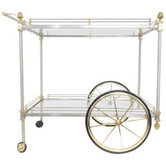 Rolling Bar Cart Brushed Chrome and Brass Maison Jansen Style, Italy, 1970s