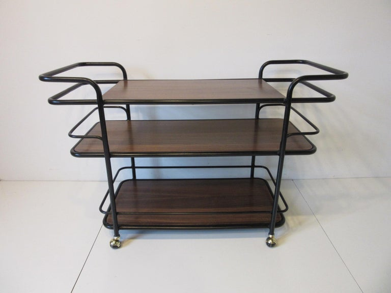 Rolling Bar Cart in the Manner of Art Deco / International Style For Sale 4