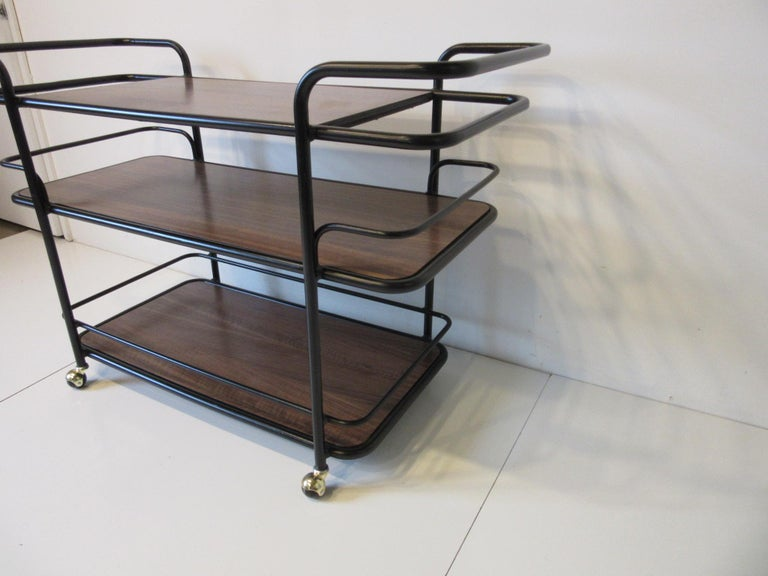 American Rolling Bar Cart in the Manner of Art Deco / International Style For Sale