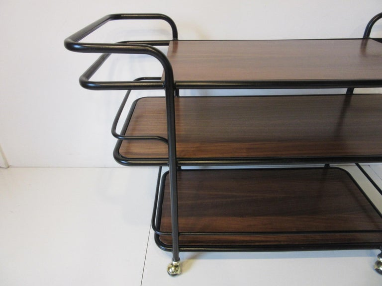Rolling Bar Cart in the Manner of Art Deco / International Style In Good Condition For Sale In Cincinnati, OH