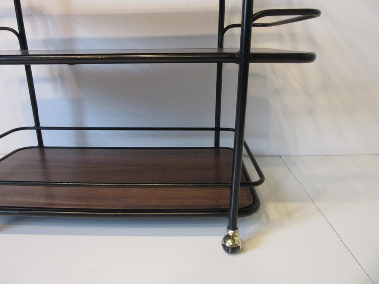 Metal Rolling Bar Cart in the Manner of Art Deco / International Style For Sale