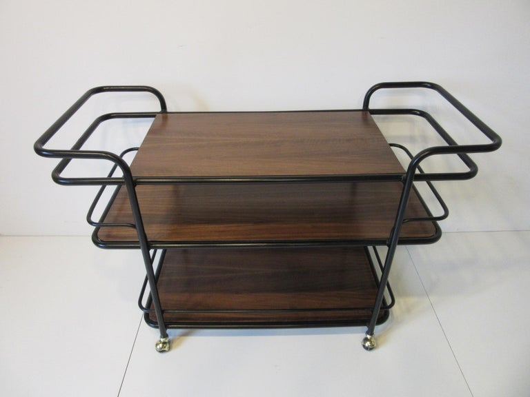 Rolling Bar Cart in the Manner of Art Deco / International Style For Sale 1