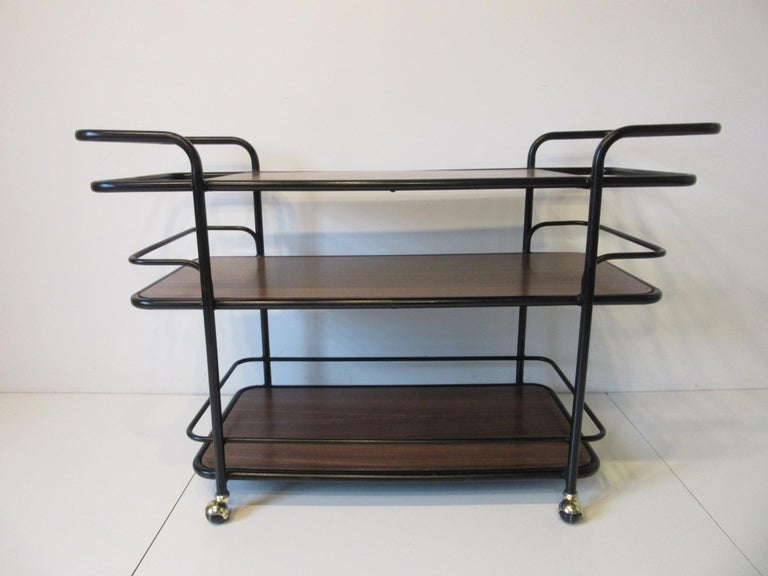 Rolling Bar Cart in the Manner of Art Deco / International Style For Sale 2
