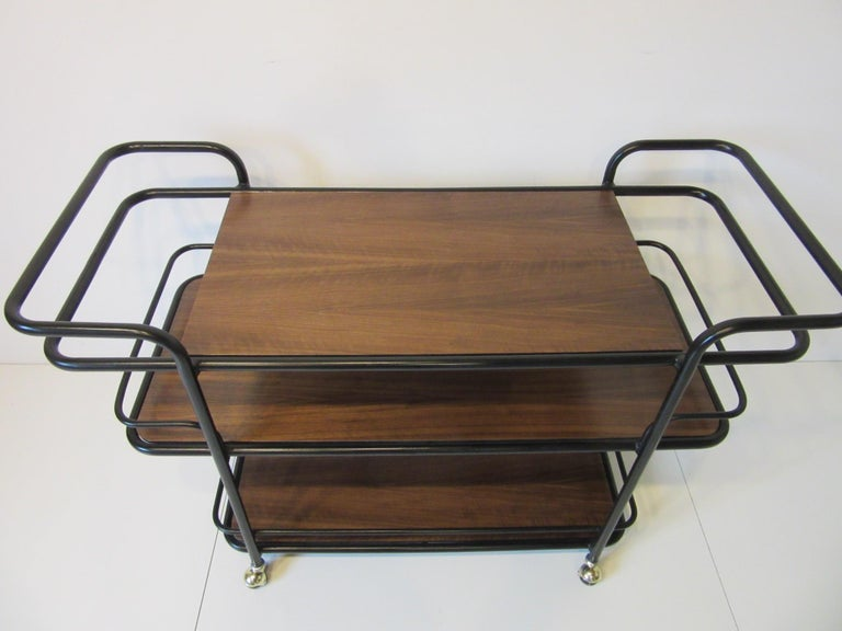 Rolling Bar Cart in the Manner of Art Deco / International Style For Sale 3