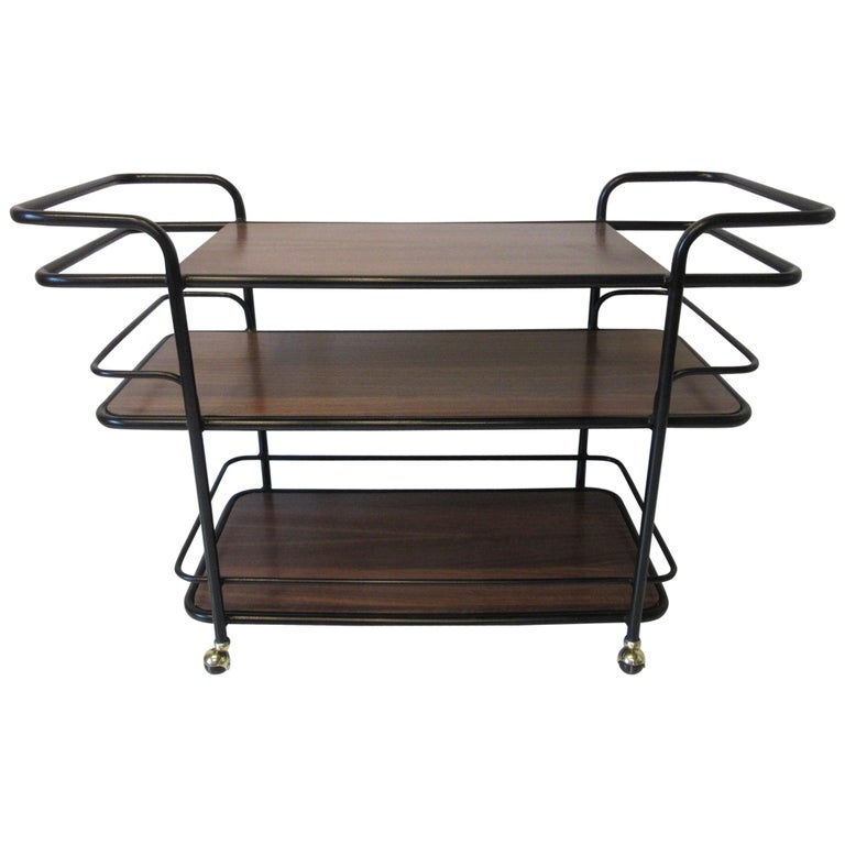 Rolling Bar Cart in the Manner of Art Deco / International Style For Sale