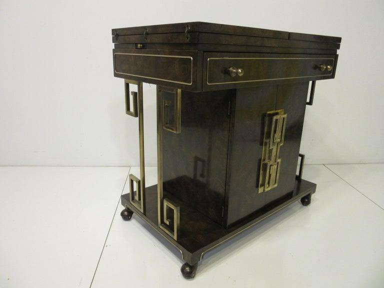 Mid-Century Modern Rolling Brass / Burl Wood Bar Cart by Bernhard Rohne for Mastercraft For Sale
