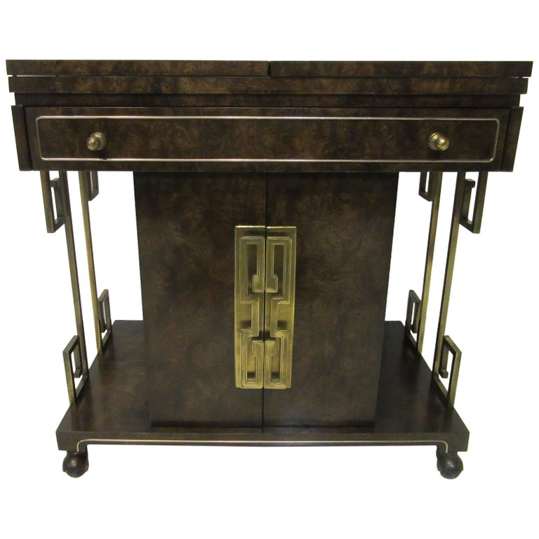Rolling Brass / Burl Wood Bar Cart by Bernhard Rohne for Mastercraft For Sale