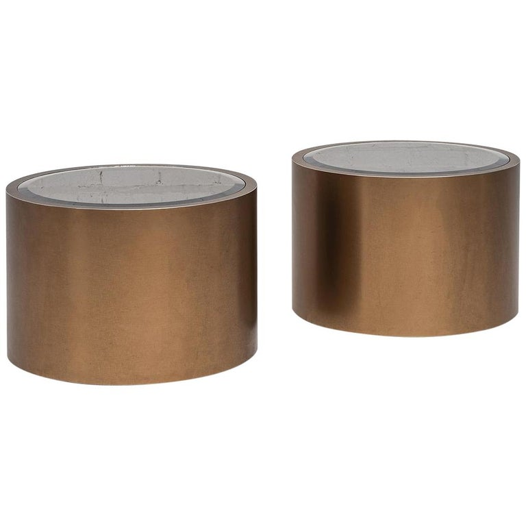 Steve Chase Rolling Bronze Drum Tables1970's For Sale