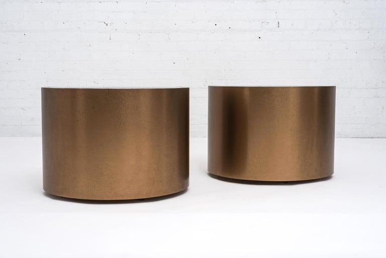 American Steve Chase Rolling Bronze Drum Tables1970's For Sale
