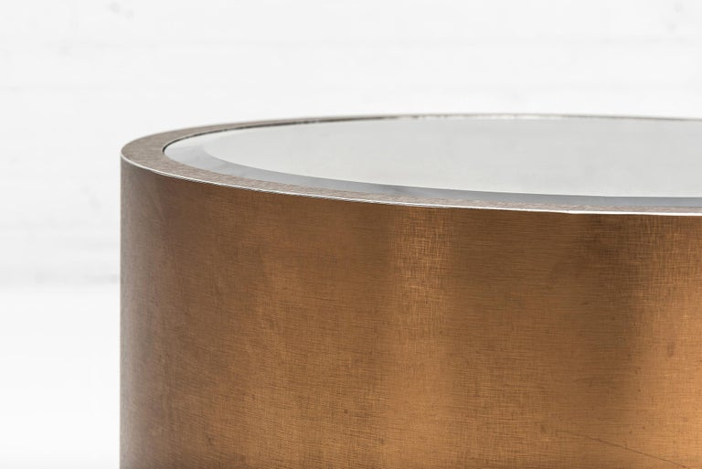 Steve Chase Rolling Bronze Drum Tables1970's In Good Condition For Sale In Chicago, IL