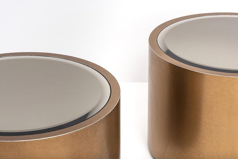 Late 20th Century Steve Chase Rolling Bronze Drum Tables1970's For Sale