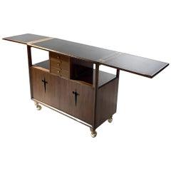 Rolling Convertible Walnut Edmond J. Spence Flip Top Bar or Serving Cart Buffet