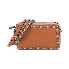 Rolling Rockstud Camera Crossbody Bag Leather with Cabochons