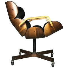 Rolling Segmented Lounge or Desk Chair by George Mulhauser for Plycraft