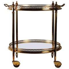 Rolling Table, Brass and Glass, Removable Tray, Napoleon III Style, 1950