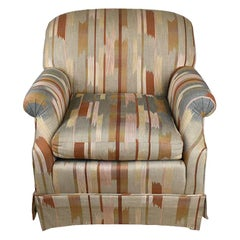 Rolling Upholstered Southwest Ikat Armchair by Baker Furniture Company