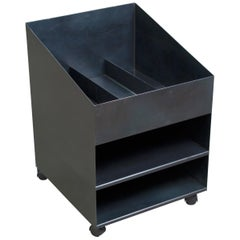 Rolling Utility Cart in Blackened Hot Rolled Steel by Force/Collide, Desk Caddy