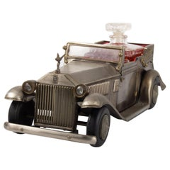 Rolls-Royce in Metal, 1920-1930, Art Deco Era, with Carafe, 6 Glasses, Music Box