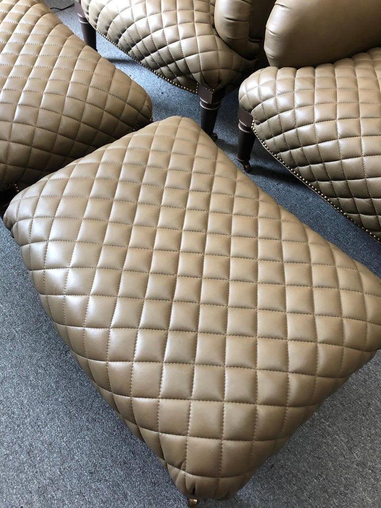 Rolls Royce of Quilted Leather Lounge Chairs with Ottomans by Ferguson Copeland For Sale 5