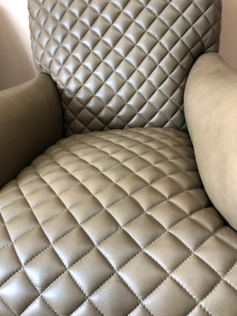 Contemporary Rolls Royce of Quilted Leather Lounge Chairs with Ottomans by Ferguson Copeland For Sale