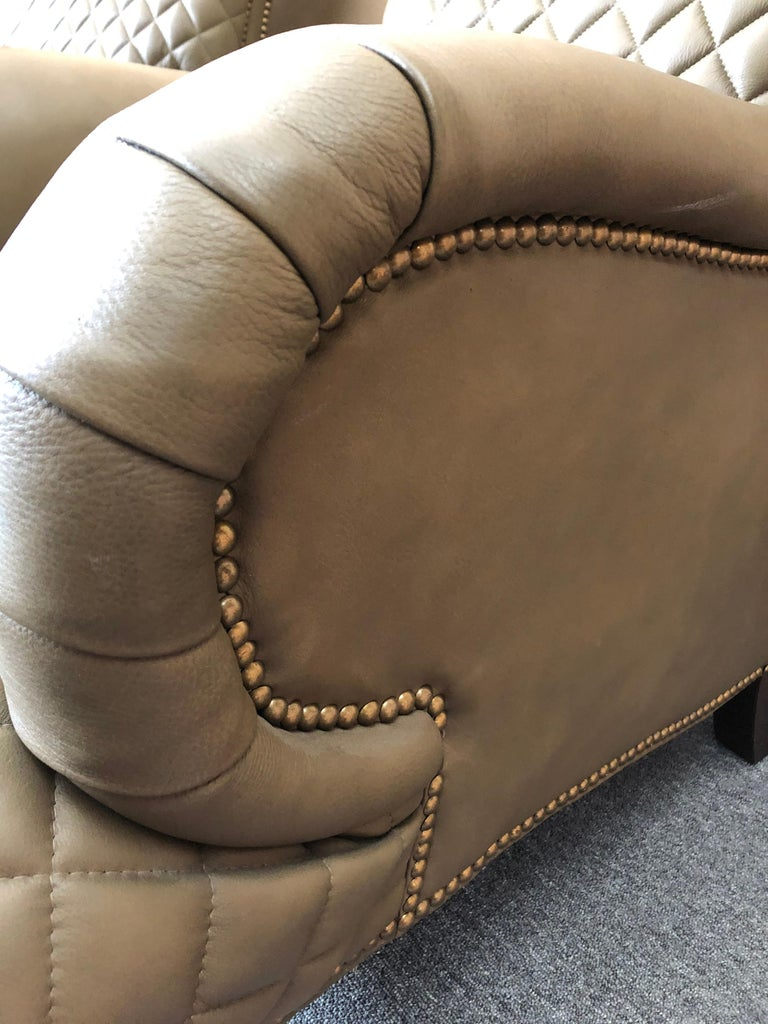 Mahogany Rolls Royce of Quilted Leather Lounge Chairs with Ottomans by Ferguson Copeland For Sale