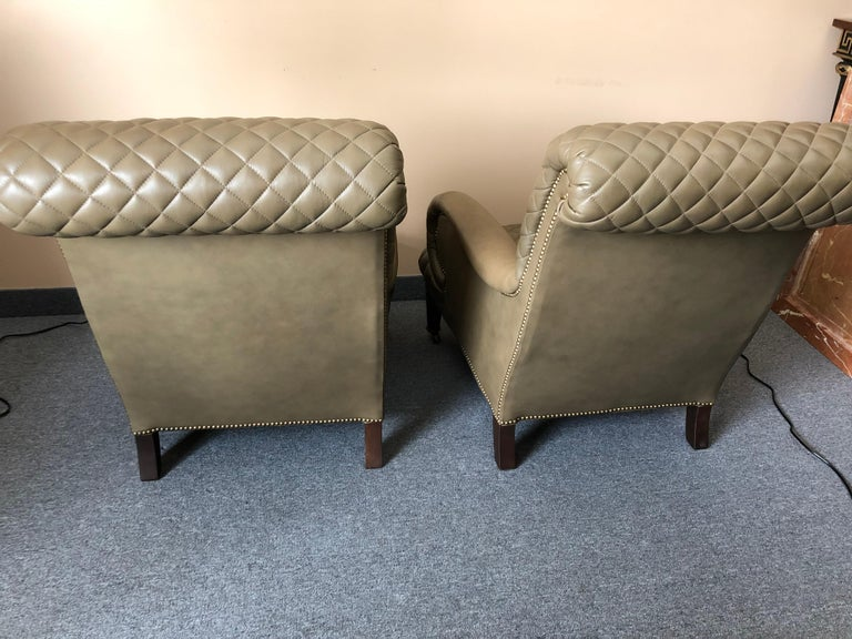 Rolls Royce of Quilted Leather Lounge Chairs with Ottomans by Ferguson Copeland For Sale 3