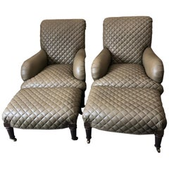 Rolls Royce of Quilted Leather Lounge Chairs with Ottomans by Ferguson Copeland