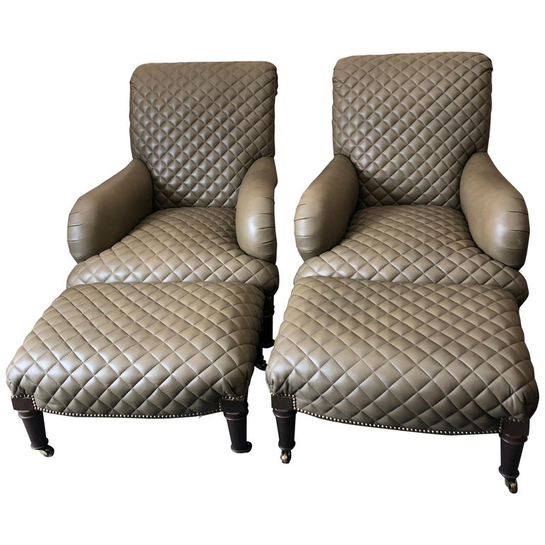 Rolls Royce of Quilted Leather Lounge Chairs with Ottomans by Ferguson Copeland For Sale