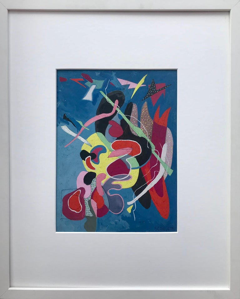 Rolph Scarlett Abstract In Blue Mixed Media For Sale
