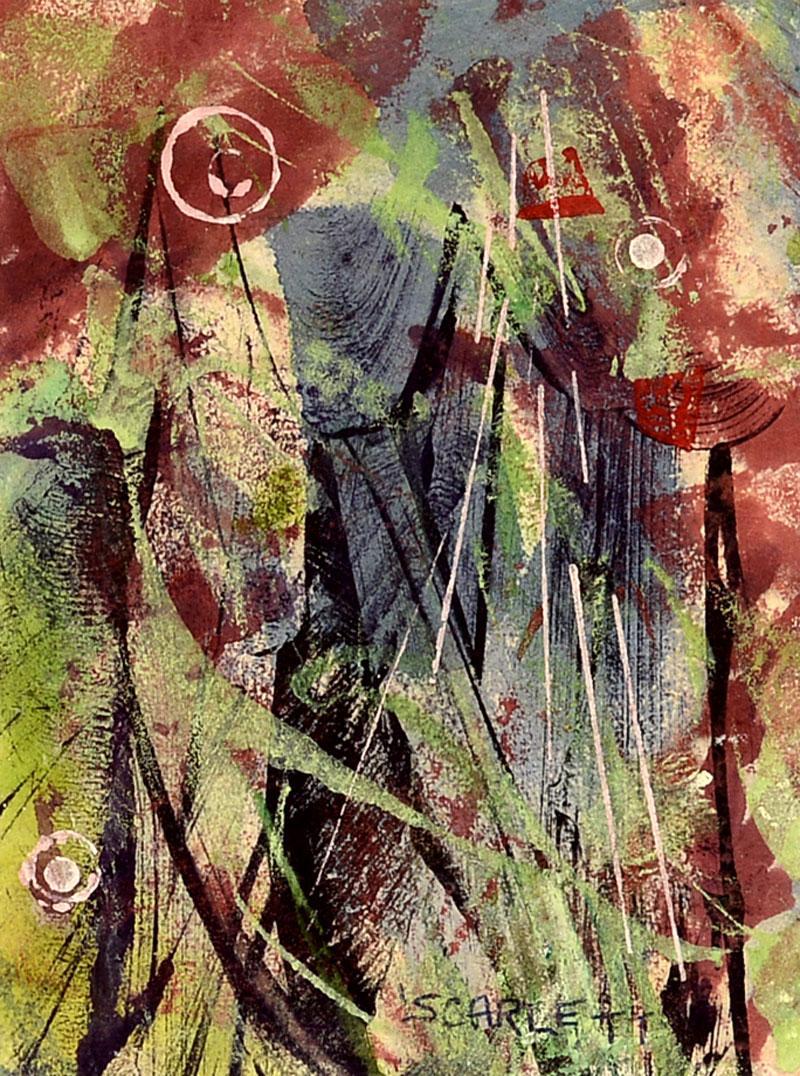 """Abstraction I,"" Rolph Scarlett, gouache, modernism, American art, ca 1940-50"