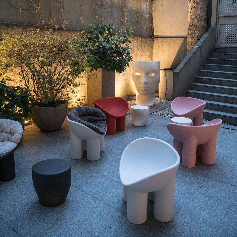 Fabric Roly Poly Polyethylene Armchair in Concrete with Cushions by Faye Toogood For Sale